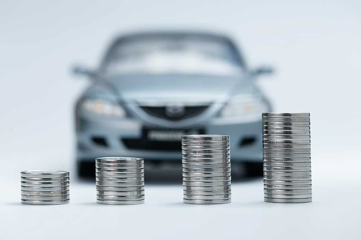 coins in front of car
